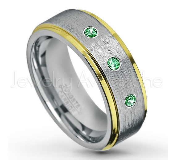 June Birthstone Ring 0.21ctw Alexandrite 3-Stone Titanium Ring 6MM Brushed Finish Comfort Fit Dome White Wedding Band