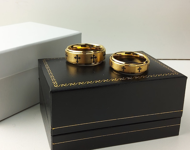 6mm-8mm Yellow Gold IP Tungsten Wedding Rings Bride and Groom Anniversary Rings TN720-719CS Laser Engraved Cross Tungsten Wedding Band Set
