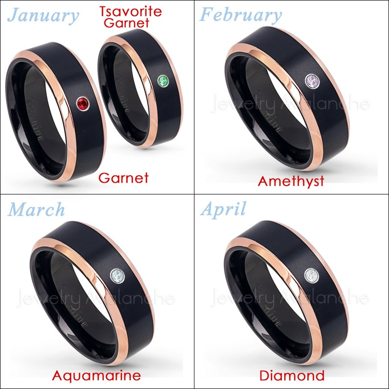 Black IP and Rose Gold Plated 2-Tone Comfort Fit Titanium Wedding Band TM581 Solitaire Band 0.07ct Garnet Ring January Birthstone Ring