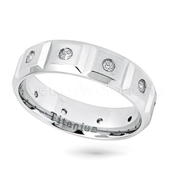 6-Stone CZ Eternity Band Beveled Edge Comfort Fit Wedding Band Jewelry Avalanche 6mm Matte Finish White Titanium Ring