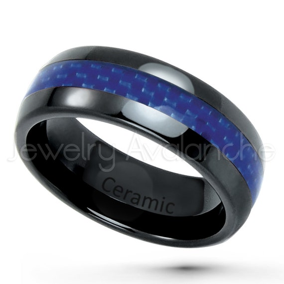 Domed Black Ceramic Ring Blue Carbon Fiber Inlay
