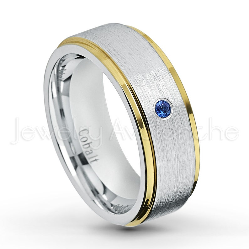 September Birthstone 0.07ct Blue Sapphire Birthstone Ring 2-tone Cobalt Wedding Band Yellow Gold Plated Comfort Fit Cobalt Ring 1CT422