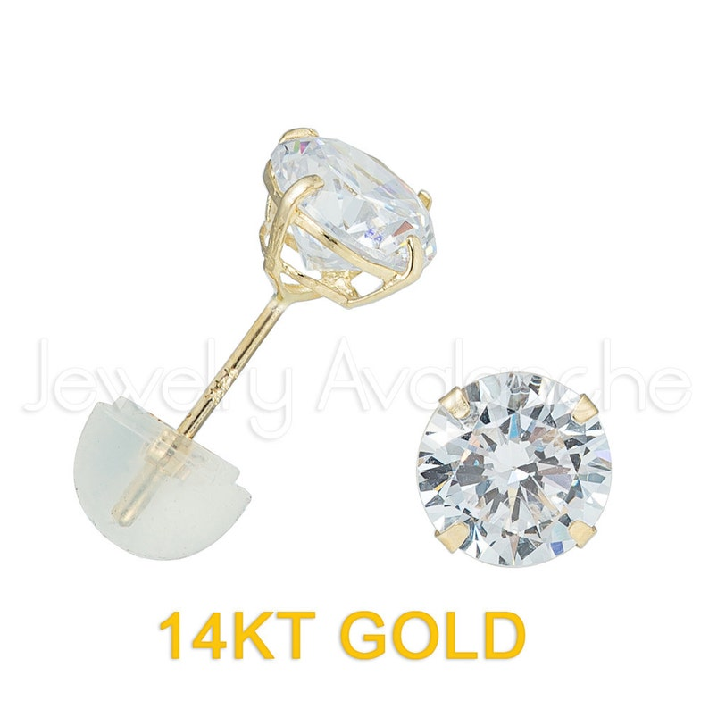 Butterfly Push Backs Solid Gold Earrings 14Kt Yellow Gold Stud Earrings Round Clear CZ Solitaire Casting Stud Earrings