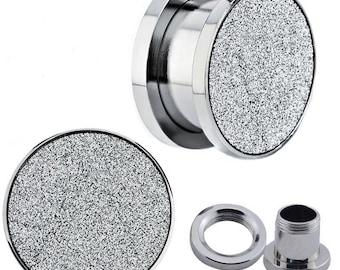 Body Jewelry, 316L Surgical Steel Plugs, Grey Sandpaper Top Texture Screw-on Surgical Steel Ear Plugs, Ear Piercing Jewelry  BDJ0059