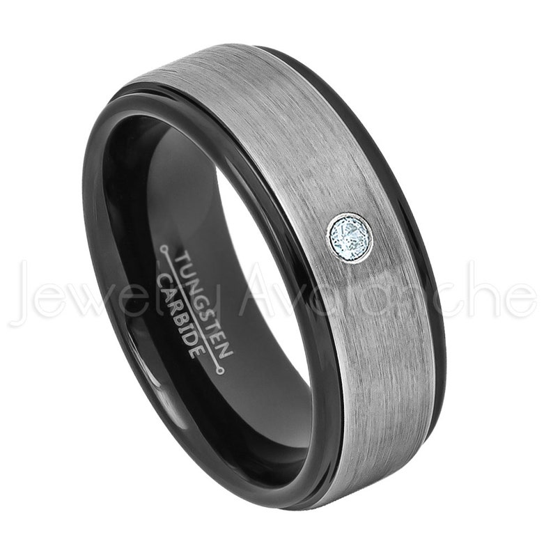 0.07ct Aquamarine Ring March Birthstone 2-Tone Tungsten Ring Brushed Finish Black Tungsten Ring,Comfort Fit Tungsten Wedding Ring TN678BS