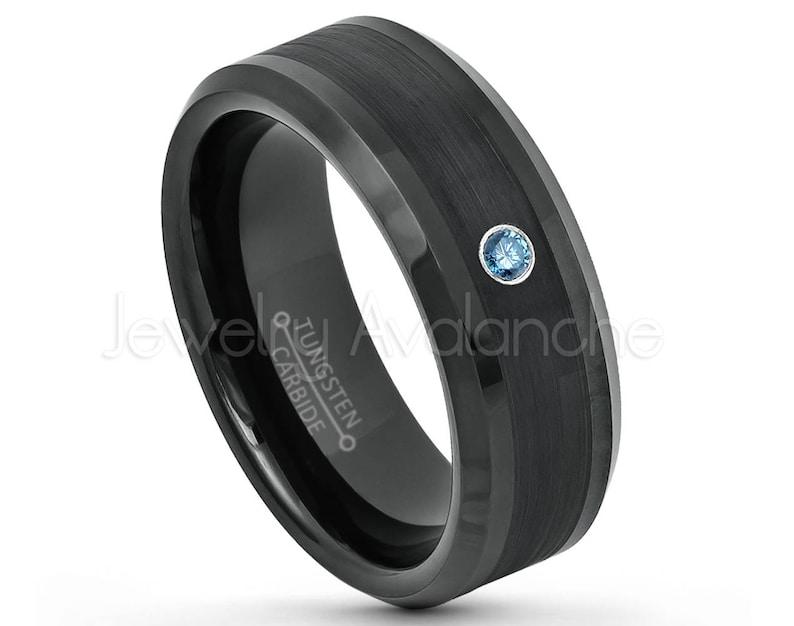 8mm Beveled Edge Comfort Fit Tungsten Wedding Band TN663BS Mens Black Tungsten Ring April Birthstone Ring 0.07ct Blue Diamond Ring