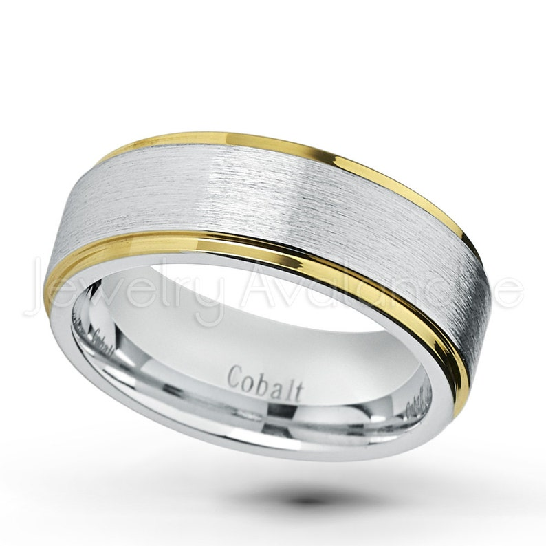 His or Her Anniversary Ring CT422 Yellow Gold IP Stepped Edge Brushed Finish Comfort Fit Cobalt Chrome Band 2-Tone Cobalt Wedding Ring