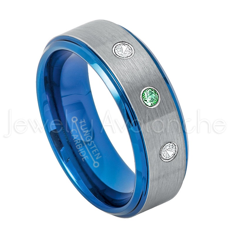 0.21ctw Emerald /& Diamond 3-Stone Tungsten Ring Brushed 2-Tone Blue IP Comfort Fit Tungsten Wedding Ring TN744BS May Birthstone Ring