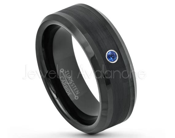 8MM Comfort Fit Polished Black Ion Dome Tungsten Carbide Wedding Band June Birthstone Ring Jewelry Avalanche 0.07ct Alexandrite Tungsten Ring