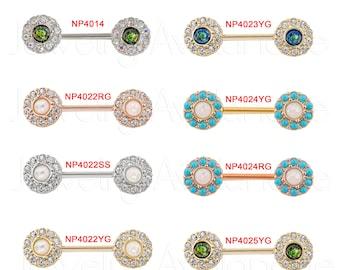 1-Pair 14G Opal Nipple Barbell Ring, Halo CZ Opalite Nipple Jewelry, Nipple Barbell Ring, Screw-on 316L Surgical Steel, Body Jewelry