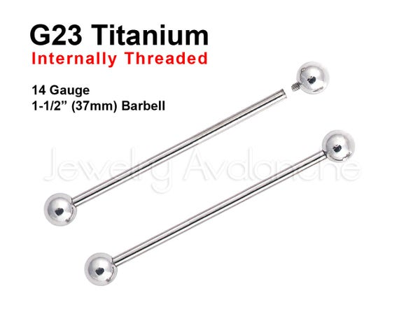 One 316L Surgical Steel Barbell Titanium Anodized Long Spikes