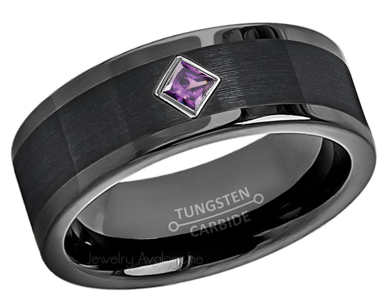 d16491c4825ea Pipe Cut Black Tungsten Ring 0.10ctw Princess Cut Amethyst Tungsten Carbide  Wedding Band, Mens Tungsten Anniversary Band Comfort Fit TN374PD