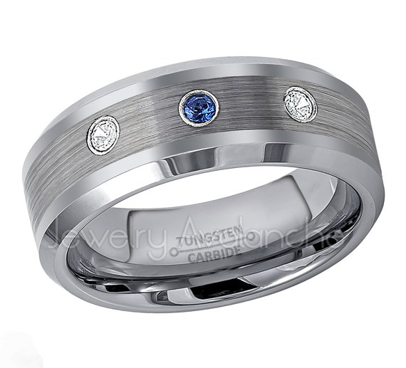 7MM Comfort Fit Brushed Finish Stepped Edge Tungsten Carbide Wedding Band Jewelry Avalanche 0.07ct Blue Sapphire Tungsten Ring