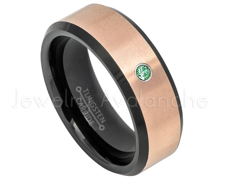 2-Tone Rose Gold Tungsten Ring Comfort Fit May Birthstone Ring TN619BS 0.07ct Ladies Emerald Ring Black IP Tungsten Wedding Band