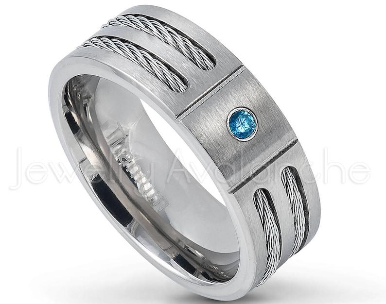Brushed Finish Men/'s Titanium Ring TM761-BS Double Cable Men/'s Titanium Ring 0.07ct Blue Diamond Ring April Birthstone Ring
