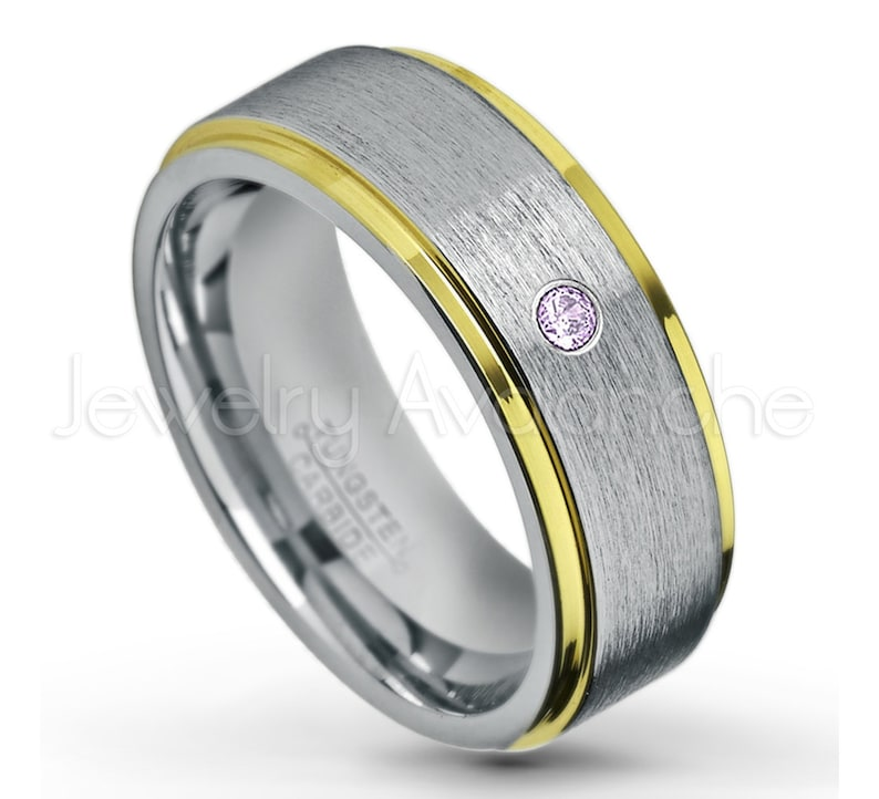 2-tone Yellow Gold Plated Comfort Fit Tungsten Carbide Ring TN132BS February Birthstone Ring 0.07ctw Amethyst Solitaire Tungsten Band