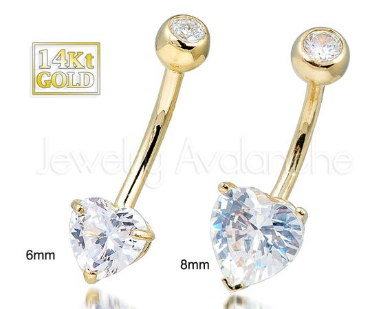 14kt Gold Heart Belly Ring 14g Belly Button Ring Banana Barbell Navel Ring 14kt Yellow Gold 14kt White Gold Navel Piercing Jewelry