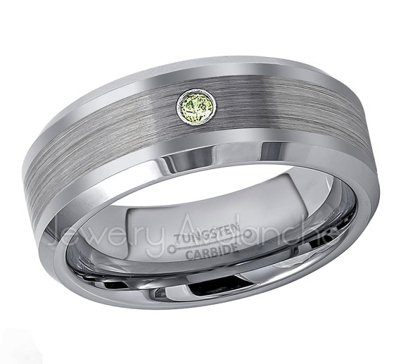 6mm Classic Dome Tungsten Ring,0.07ct Peridot Solitaire Band August Birthstone Ring Comfort Fit Tungsten Carbide Wedding Ring TN060BS