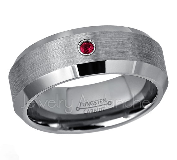 June Birthstone Ring 6MM Polished Dome Brushed Center Finish Comfort Fit White Wedding Band 0.07ct Alexandrite Titanium Ring