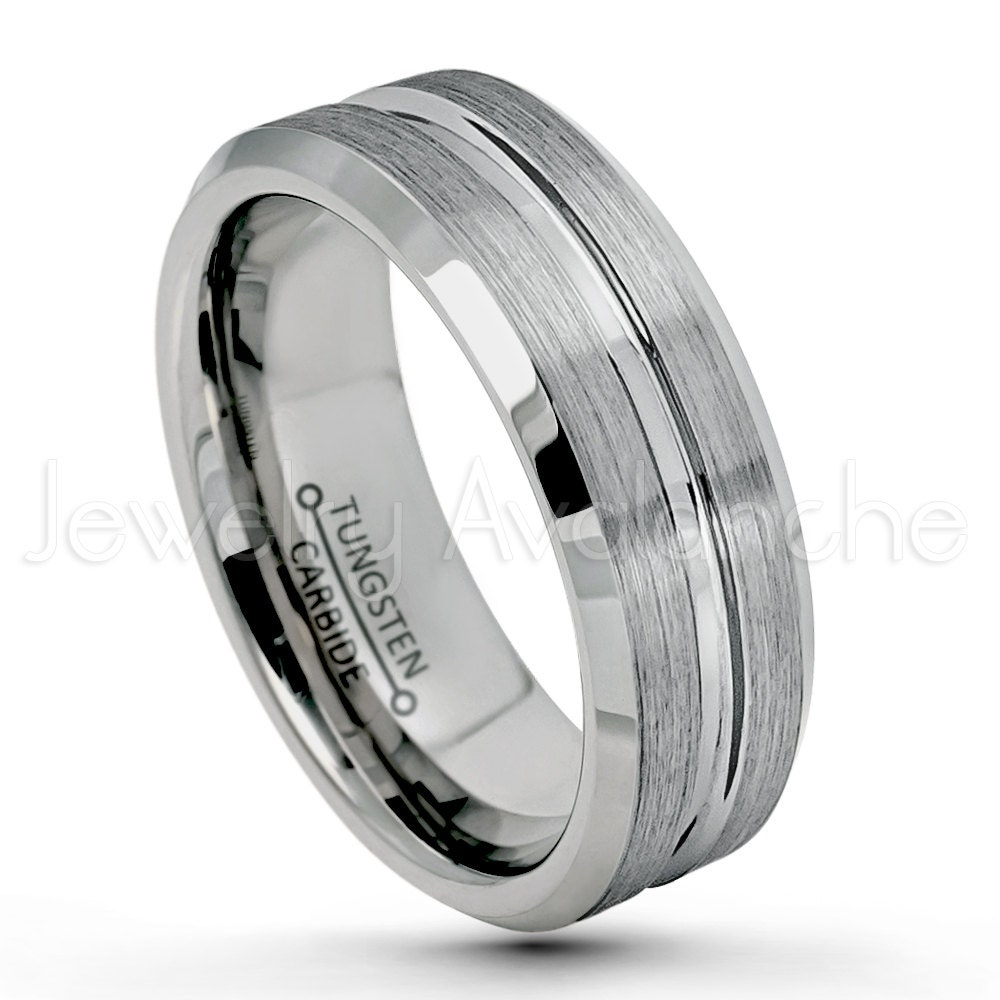 Mens 9mm Pipe Cut Edge Wedding Band Black Ion Plated Brushed Center Finish Comfort Fit Tungsten Carbide Anniversary Ring