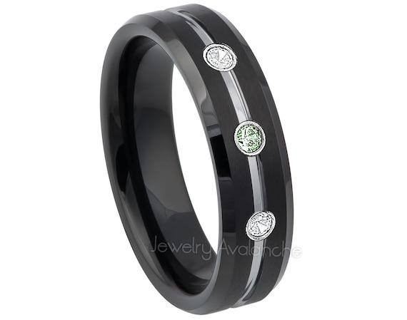April Birthstone Ring 6MM Polished Dome Brushed Center Finish Comfort Fit White Wedding Band 0.21ctw Black Diamond 3-Stone Titanium Ring