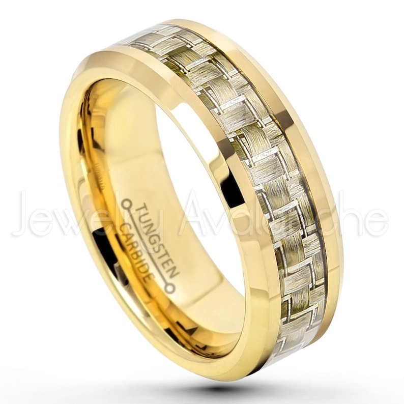8mm Polished Yellow Gold Plated Comfort Fit Beveled Edge Tungsten Carbide Ring w Golden Carbon Fiber Inlay Tungsten Wedding Band TN341PL