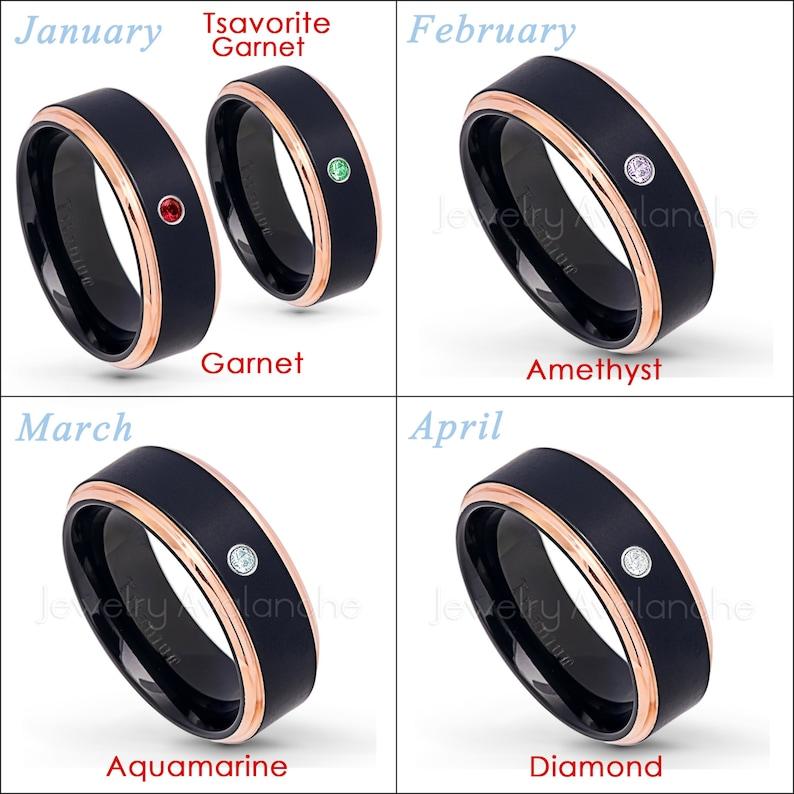 December Birthstone Ring Solitaire Band 0.07ct Tanzanite Ring Black IP /& Rose Gold Plated 2-Tone Comfort Fit Titanium Wedding Band TM579
