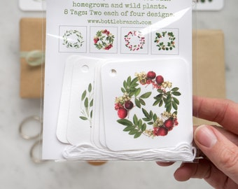 Red and green wreath gift tags ~ foliage, berries, greenery
