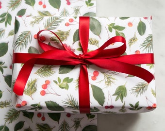 Gift wrap ~ evergreens and holly ~ decorative paper ~wrapping paper