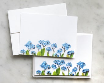 Forget-me-nots flat card set ~ note cards ~ thank you notes ~ floral stationery