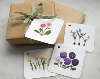 Spring flower gift tags in a rainbow of colors ~ pansy ~ daisy ~ daffodil