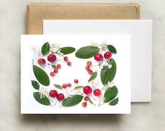 Botanical card ~ crabapples, sweet autumn clematis