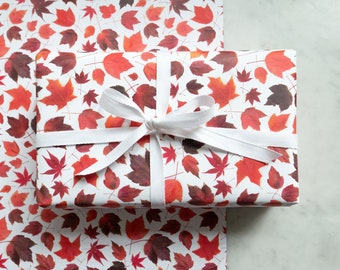 Gift wrap ~ red maple leaves ~ decorative paper ~wrapping paper