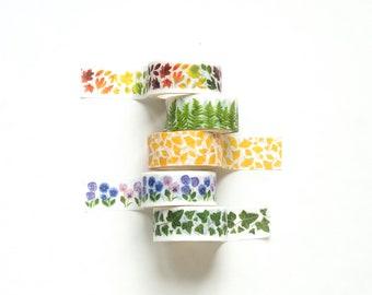 Washi tape in botanical designs ~ floral washi tape ~ leaves washi tape ~ botanical washi ~ ginkgo ~ pansy ~ ferns