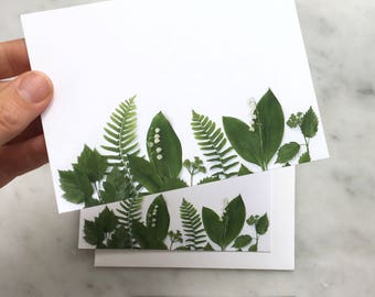 Lily of the Valley, ferns, and greens flat card set ~ note cards ~ thank you notes ~ floral art ~ botanical photography
