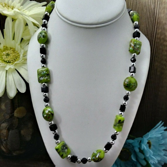 Handmade vintage green glass bead necklace with a lovely green pendant necklace