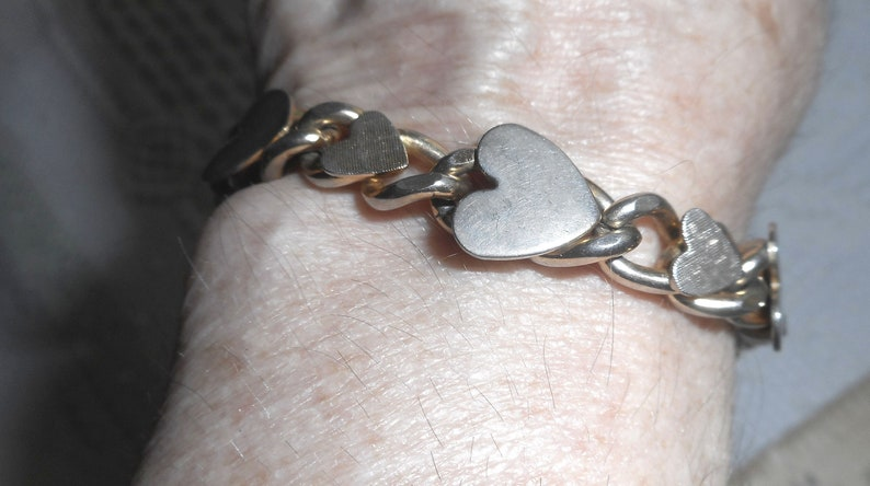 Valentine Gift Vintage Ten Heart 1950s Silver- tone Heart Bracelet See Pics Christmas Gift Total Length 8 Inches Love Gift
