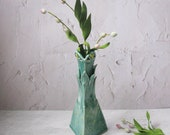 tall triangle blue green vase by echo of nature