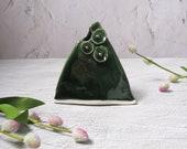 Deep green porcelain ceramic vase by echo of nature, Yumiko Goto