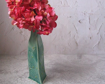 tall blue green ceramic flower vase by echo of nature, yumiko goto