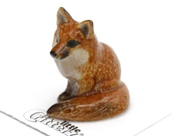 small fox unique gift for animal lover with 22k gold detail hand  painted Ceramic fox animal figurine tiny fox porcelain sculpture