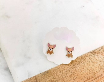 CHIHUAHUA PUPPY DOG stud earrings lead and nickel free