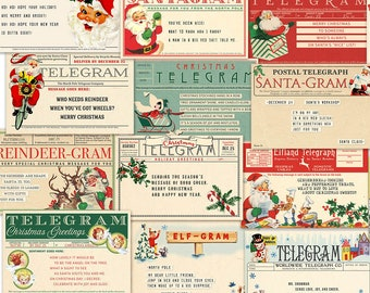 "Retro Digital Christmas Telegrams, Santa Grams / 16 ephemera cards, 6"" by 4"" / gift tags, crafts / PDF, collage sheets, individual JPEGs"