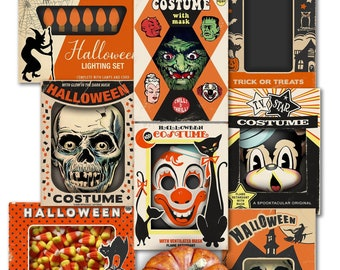 """Printable Vintage Halloween Box Top Cards / 8 digital ephemera cards / ephemera for gift tags, scrapbooks, crafts /3"""" by 4"""" & 2.5"""" by 3.5"""""""