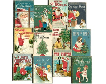Vintage  Christmas Digital Book Covers / 12 ephemera cards / gift tags, cupcake toppers, crafts / 2 sizes / collage sheet, individual files