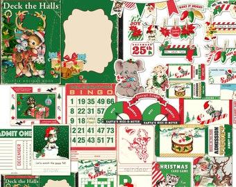 Retro Christmas Animals Digital Embellishments & Ephemera Cards for scrapbooks, junk journals / printable collage sheets, individual files