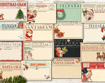 """Vintage Printable Blank Christmas Telegrams / 16 ephemera cards, 6"""" by 4"""" for gift tags, greeting cards, crafts, scrapbooks, junk journals"""
