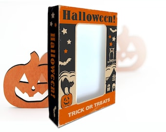 """Printable Vintage Halloween Trick or Treats Box / digital 5"""" by 7"""" by 1.25"""" box template for candy, gifts, crafts, diorama, shadowbox"""