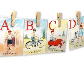 Printable Vintage Children ABC Flashcards 5 X 7 Digital Alphabet Flash Cards Instant