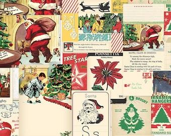 Retro Christmas digital ephemera / printable / digital scrapbooking / Santa Claus collage sheets, JPEG, PDF / pocket cards / various sizes